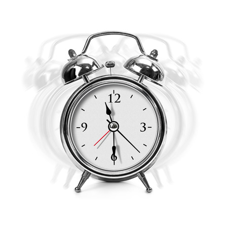 resonate: Vibrate metal chrome alarm clock isolated on white background with clipping path Stock Photo