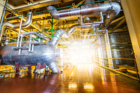 factory power generation: Architecture of powerhouse industrial metal pipe system Stock Photo