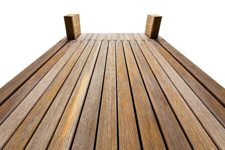verandah: Perspective wooden bridge isolated on white with clipping path Stock Photo