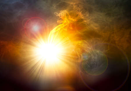 gush: Bright of light beam and smoke with flare for abstract background