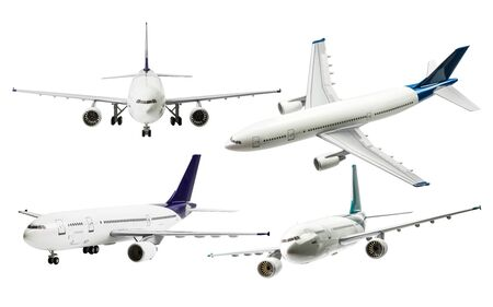 undercarriage: Collection of commercial plane isolated on white background with clipping path