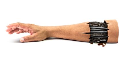 piel humana: Acero mec�nico de la mano humana en el interior aislado en el fondo blanco con el camino de recortes para el concepto de la tecnolog�a rob�tica mano cibern�tica en el tiempo futuro ser� podrida