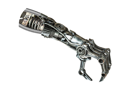 클리핑 경로와 흰 배경에 고립 된 기계 부품에서 만든 금속 로봇 손 스톡 콘텐츠
