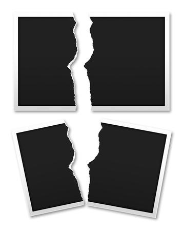 in tears: Rasgar el papel fotográfico para el material de diseño creativo aislado en fondo blanco con trazado de recorte