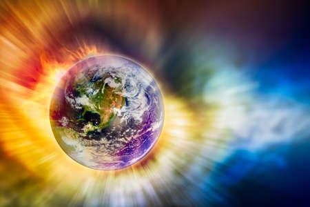 doomsday: The earth and motion light with fire blaze in concept of global warming