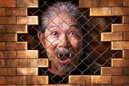 metal grate: Imprison old man vampire internal the metal grate bar and brick wall in concept of detain the wicked evil Stock Photo