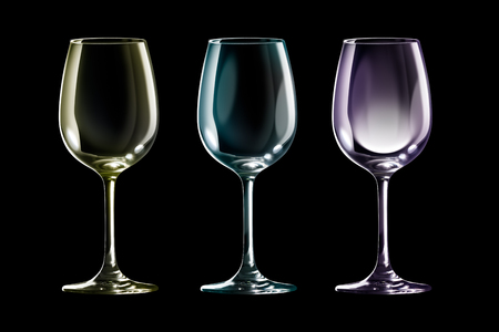 bar ware: Empty colored wine glass isolated on black background