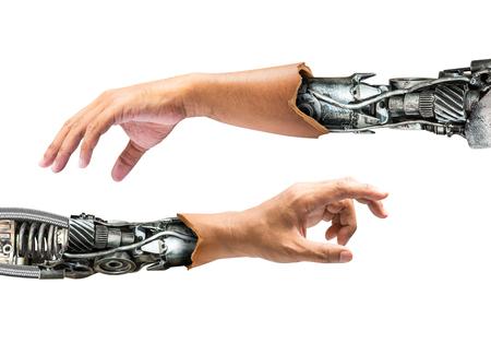 금속 로봇 팔 내부 인간의 손에 미래 기술의 개념에 대해 흰색 배경에 고립