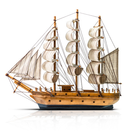 schooner: Model of the wooden antique schooner isolated on white background Stock Photo