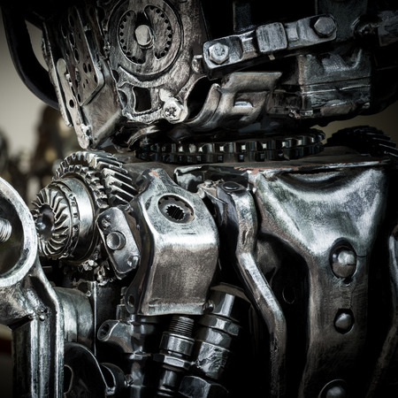 camshaft: Part of grunge and rusty machine in the dark tone Stock Photo