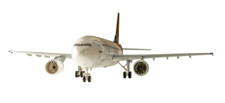 undercarriage: Commercial airplane isolated on white background with clipping path