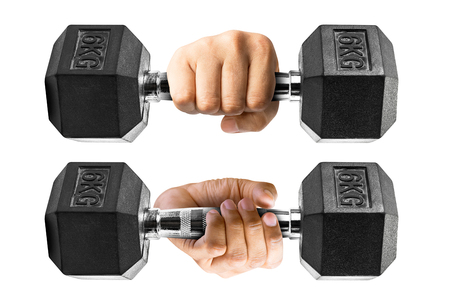 arm holding: Set of human arm holding on metallic dumbbell isolated on white background with clipping path Stock Photo