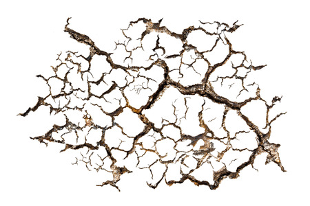 cranny: Pattern of cracked soil for design material isolated on white background Stock Photo