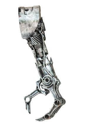 robot: Met�lico mano del robot hecho de parte de la m�quina aislado en el fondo blanco Foto de archivo