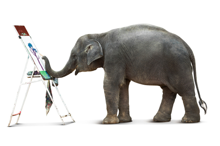 Cute elephant artist in action of painting the picture isolated on white background