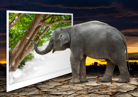 Cute elephant artist in action of painting the natural picture in concept of deficient forest