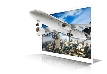 to depart: Commercial airplane for transportation flying depart out from cityscape photo paper isolated on white