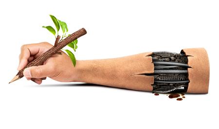 인간의 로봇 손을 자연과 화이트 고립 된 기술에서 조화의 개념에서 자연 연필 개최 스톡 콘텐츠