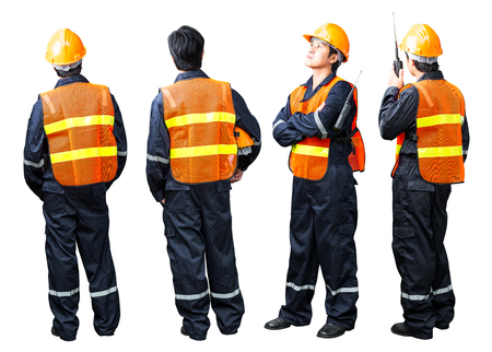 Construction worker man in various action isolated on white background