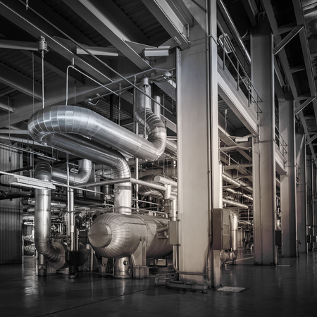 powerhouse: Architecture of powerhouse pipe system for industrial background Stock Photo