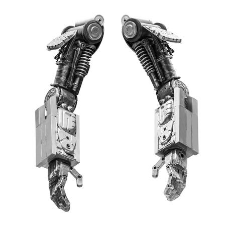 Metálico mano del robot hecho de parte de la máquina aislado en el fondo blanco Foto de archivo
