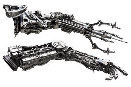 기계 부품으로 만든 금속 로봇 손 흰색 배경에 고립