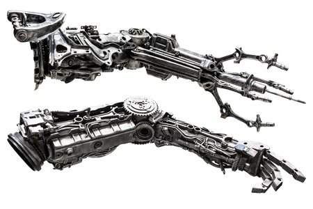 Metallic robot hand made from machine part isolated on white background