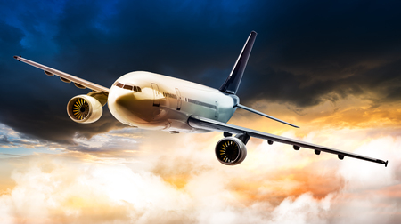 Airplane for transportation flying on rain storm cloud in sunset time Stock Photo