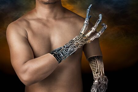 chrome man: Metallic robot hand internal human body in concept of the future technology