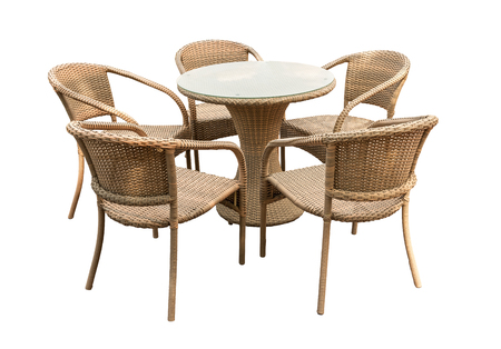 Rattan table and chair isolated on white Stock fotó