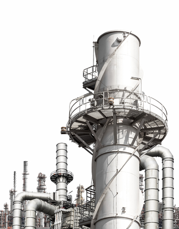 Structure of the oil refinery building isolated on white background