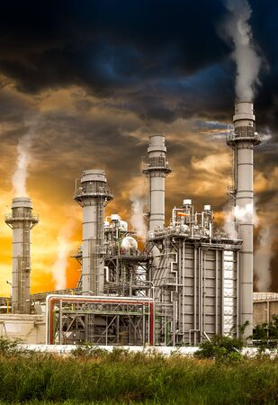 Toxic fumes pollution from industrial power plant station in concept of global warming