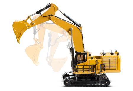 Motion of the excavator backhoe model isolated on white background Stock Photo