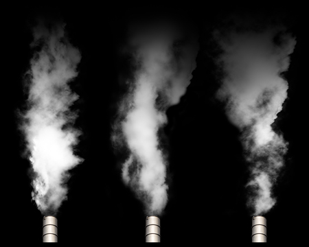 Toxic fumes pollution smoke from smokestack for material design isolated on black background