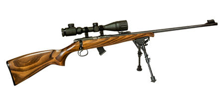 defines: Hunting rifle isolated on white background