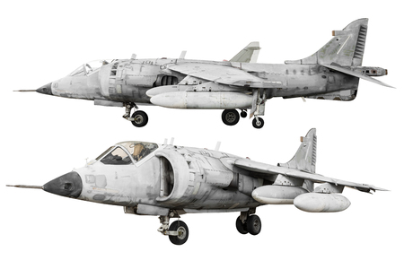 Military fighter jet airplane isolated on white background with clipping path Stock Photo