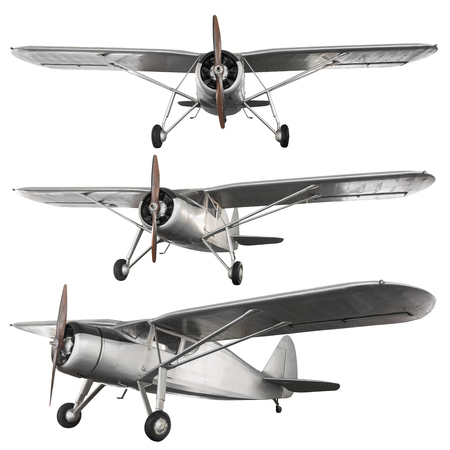 Model of steel ancient fight airplane isolated on white background