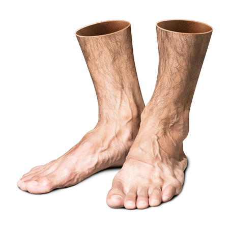 Creative foot isolated on white background with clipping path