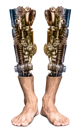 Metallic robot leg internal human foot isolated on white background in concept of the future technology with clipping path