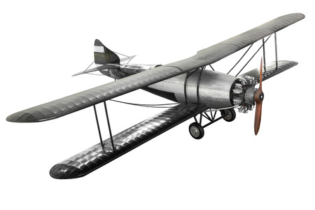 Model of steel ancient fight airplane isolated on white background with clipping path Stock Photo