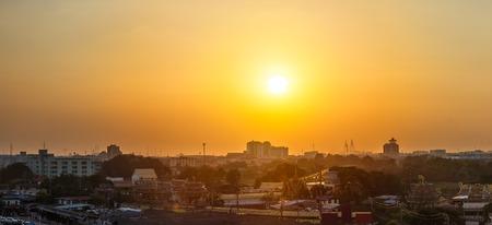 Beautiful sunset or sunrise at cityscape in Bangkok Thailand