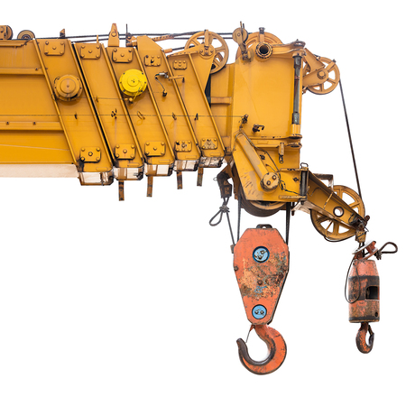 Part of auto crane for construction site equipment isolated on white background with clipping path
