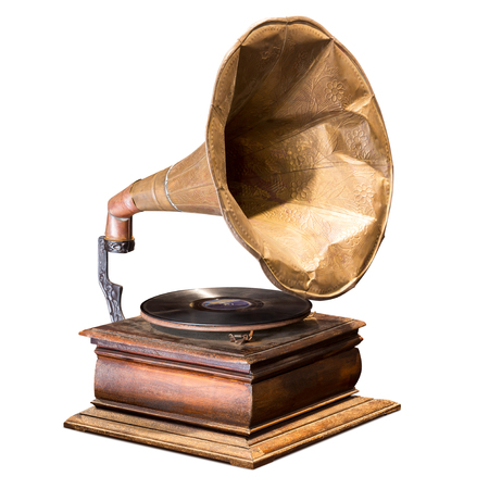 Antique gramophone vinyl record player isolated on white background with clipping path Stockfoto