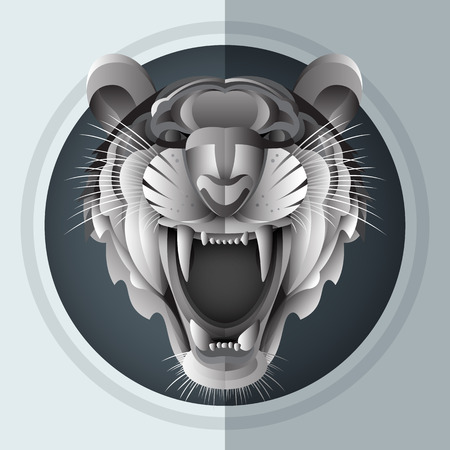 Illustrator of growl Siberian tiger in paper art style