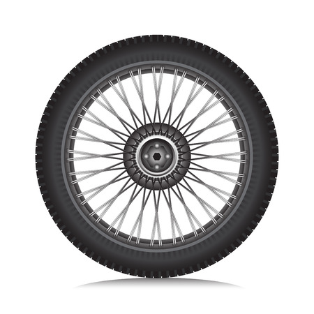 Alloy wheel with tire for car and motorcycle isolated on white, Vector illustration.