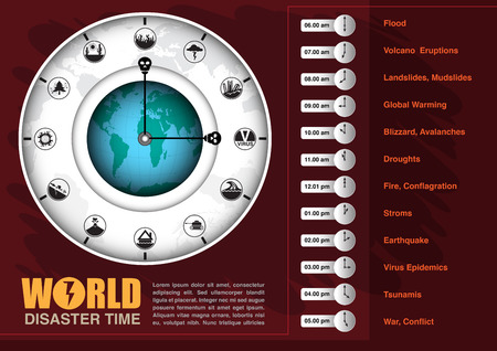Infographic chart and icon in concept of world disaster time