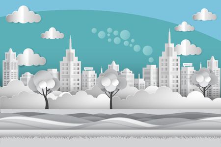 Illustration of cityscape with building at riverside in eco concept paper art style Stock fotó