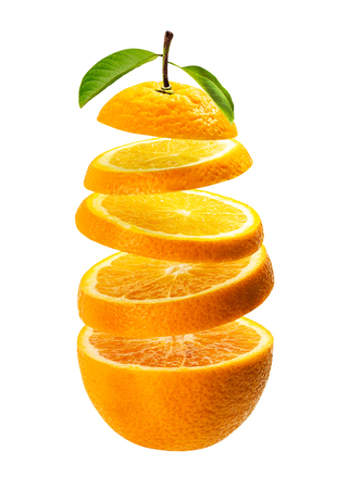 Floating orange slice isolated on white background with clipping path