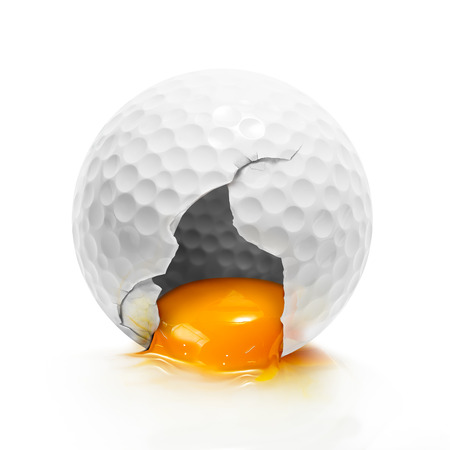 Egg yolk internal broken golf ball isolated on white background in concept of creative food ingredient
