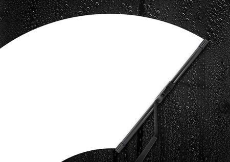 Auto wisser schoonmaken regendruppel op glas Stockfoto